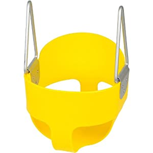High Back Full Bucket Toddler Infant Swing Seat - Seat Only, Yellow with SSS logo Sticker