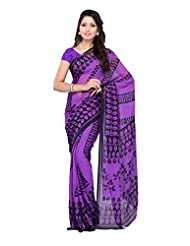 Indian Wear Violet Faux Georgette Printed Saree