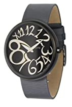Time to Change Moog Womens Black Leather Band Black Face Watch