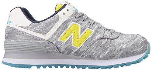 New Balance Women's WL574 Summer Waves Running Shoe, Silver Mink/Limeade, 8.5 B US