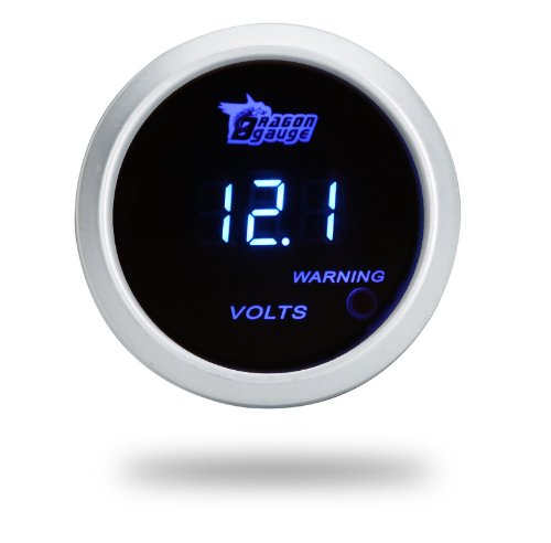 "Thg 2"" Racing Digital Blue Led Smoked Volt Voltage Gauge Meter Red Warning Aluminum Fit 12V Sedan Track Van Car"