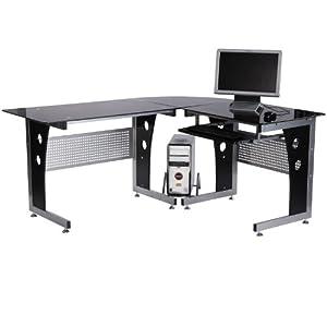 Homcom Glass Corner Computer Desk For Home Office Furniture Workstation New P