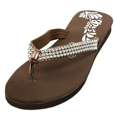 Ladies Bling Bling Crystals Flip Flops Thongs Sandals Slippers Blk Brown Sz 5
