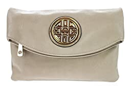 Canal Collection Multi Purpose Soft Foldable PVC Cross Body Clutch with Emblem (Beige)