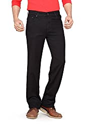 Dragaon Men's Silky Chinos Stretchable Relaxed Fit Jeans-Black-D-2604-Size-46
