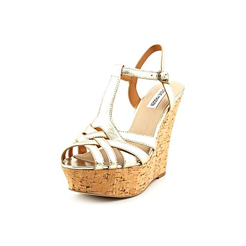 Steve Madden Women'S Wildness T-Strap Wedge,Gold Leather,8.5 M Us front-998922