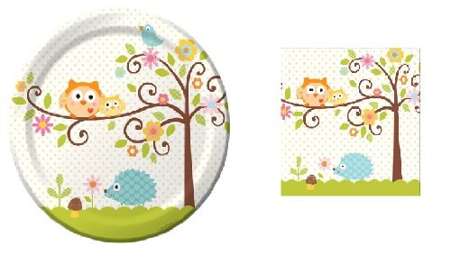 Happi Tree - Party Pack - 8 Plates & 16 Napkins - Baby Shower - Birthday