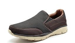 Dream Pairs 150908 Men\'s Sport Light Weight Flexible Easy Walking Slip On Shoes Sneakers BROWN-BEIGE SIZE 9.5