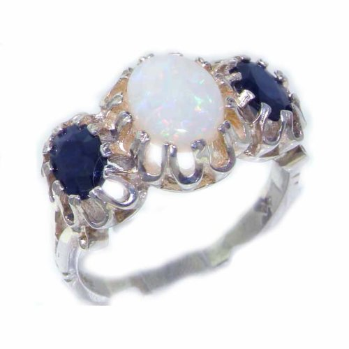Unusual Large Solid Sterling Silver Natural Opal & Sapphire Victorian Inspired Ring - Size 12 - Finger Sizes 5 to 12 Available - Suitable as an Anniversary ring, Engagement ring, Eternity ring, or Promise ring