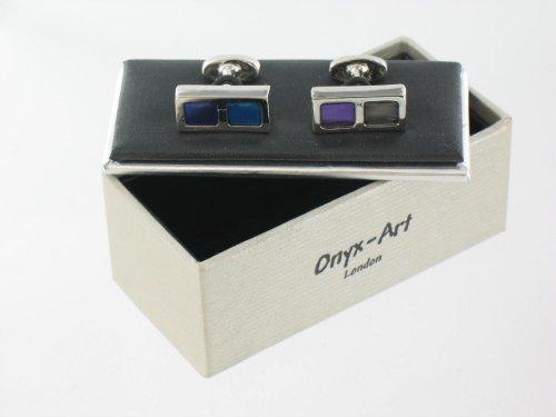 Mens Designer Stainless Steel Cufflinks with Blue & Black Square Design