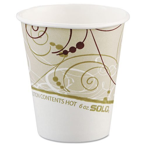 Solo Cup 376SMSYM Paper Hot Cups in Symphony Design - Polylined, 6 oz.