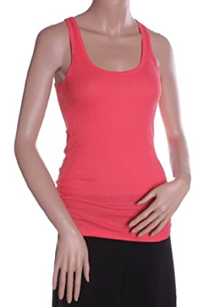 Absolute Clothing Women's Basic Athletic 2x1 Rib Racerback Tank Top Coral Small