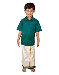 Thangamagan Boy's Shirt/Dhoty Regular Fit(Blue,Age : 8 to 9 Years)