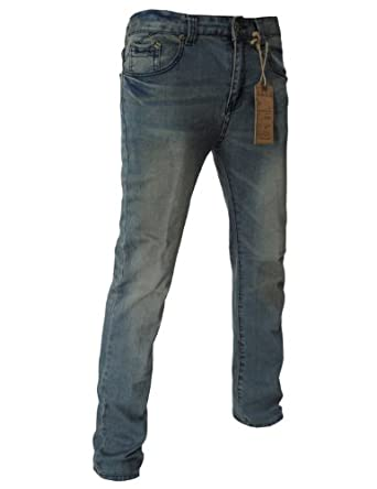 TheLees (JBB) Mens Casual Vintage Low Rise Slim Fit Washing Jeans 7911Blue L(US 28)
