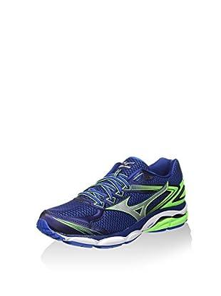 Mizuno Zapatillas de Running Wave Ultima (Azul / Plata / Verde Flúor)