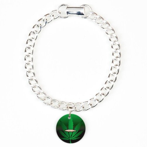 Charm Bracelet Marijuana Joint and Leaf