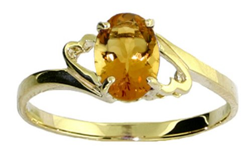 14k Gold Promise Ring with Genuine Oval Citrine