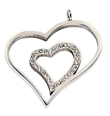 Stainless Steel Hearts Pendant 30 2mm CZ & 17 1/2