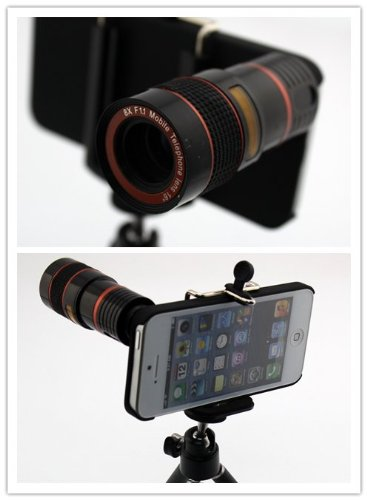 Big Dragonfly Apple Iphone 5 5G Camera Lens Kit Includes / 8 X Telephoto Manual Focus Telescope Camera Lens / 1 Mini Tripod / 1 Flexible Universial Holder / 1 Special Protection Case For Iphone 5 / 1 Cleaning Cloth / 1 Black Pouch Included Red
