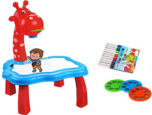 Smart Sensor Painting Projector Drawing Stool with Light Sound + 1 Painting Book + 3 Slides (18 Patterns) + 12 Water Pens for Kids