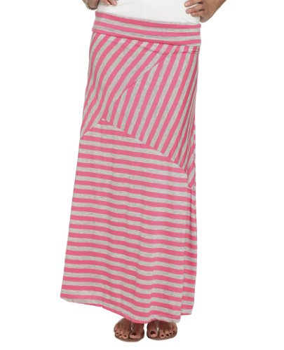 Wet Seal Women's Pieced Stripe Maxi Skirt S Camellia Rose
