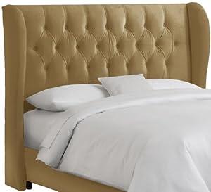 Skyline Furniture Velvet Tufted Queen Wingback