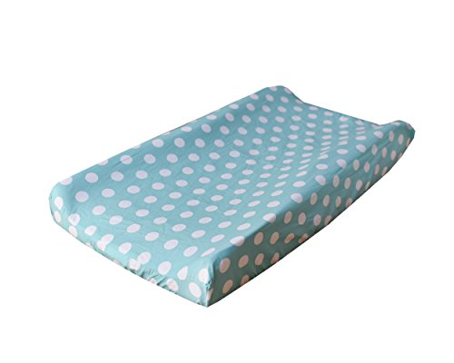 My Baby Sam Pixie Baby Polka Dot Contour Changing Pad Cover, Aqua