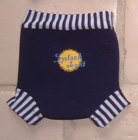 Happy Nappy: Navy with Navy & White stripe rib, X Small