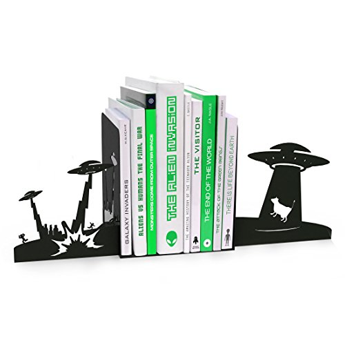 Mustard  Alien Invasion Bookends - Metal Bookends with Alien Design