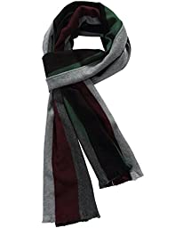 SSLR Men\'s Winter Cashmere Feel Striped Scarf (One Size, Grey)