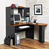 College Roost Office Collection L-Shaped Corner Desk, Black/Cherry ~ College Roost