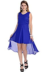 Wintage Women V Neck Sleeveless Blue Solid High Low Maxi Dress