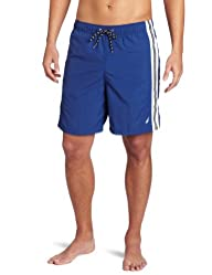 Nautica Men's Anchor Solid Stripe Swim Trunk