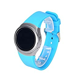 Gear S2 Watch Band (SM-R720 Version), HP95(TM) Soft Sports Silicone Replacement Sport Watch Band Strap for Samsung Galaxy Gear S2 SM-R720 (Light Blue)