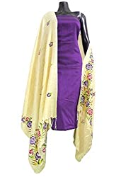 GiftPiper Handpainted Dupatta and South Cotton Kurta- Purple Kurta