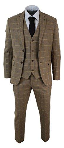 Mens-Check-Vintage-Herringbone-Tweed-Light-Brown-Oak-3-Piece-Suit-Slim-Fit