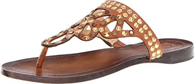 FRYE Women's Rachel Stud Thong Sandal, Cognac Veg/Tan, 5.5 M US
