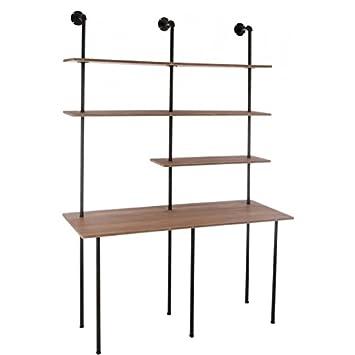 Libreria ufficio 3Tablet Metallo Nero e legno naturale