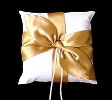buy New Gold Satin Bow Ivory Wedding Ring Pillow Bearer