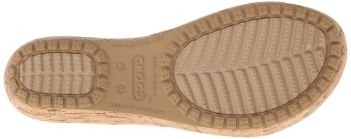 Crocs Womens Women's A-Leigh Metallic Leather Flip Flop,Gold/Gold,7 M US