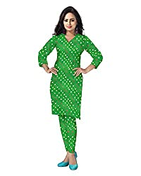 Banjara Women'S Cotton Bandhani Unstitched Dress Material (Rf26 _Green_Free Size)