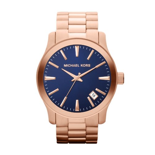 Michael Kors Men's MK7065 Rose-Gold Stainless-Steel Quartz Watch with Blue Dial