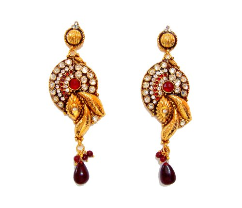 Diva Purple Stone Bollywood Big Earrings For Women (multicolor)