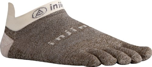 Injinji Injinji 2.0 Men's Run Lightweight No Show Wool Toesocks, Oatmeal, Large