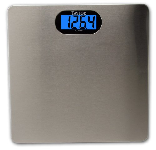 Taylor # 7404 Ultra Thin Lithium Scale with Brushed Stainless Steel Platform and Backlight