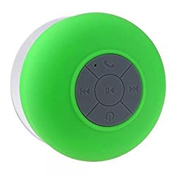 AEMA (TM) Portable Bluetooth Speaker with Suction Subwoofer Shower Waterproof Wireless Handsfree ,GREEN