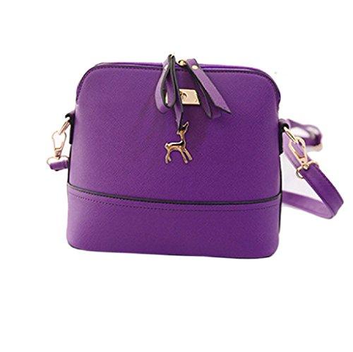 Borsa Familizo Elegant Nuovo Donne Messenger Borse Vintage Piccolo Shell borsetta di pelle casual Borsa (Viola)
