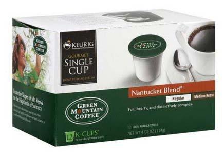 Green Mountain Coffee Roasters Gourmet Single Cup Coffee Nantucket Blend Green Mountain Coffee 12 K-Cups (A)