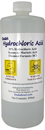 1 Quart / 950ml Bottle of Concentrated Hydrochloric / Muriatic Acid Concrete Cleaner