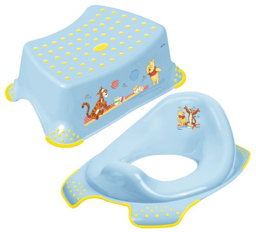 Disney Winnie the Pooh Toddler Toilet Training Seat & Step Stool Combo - Blue